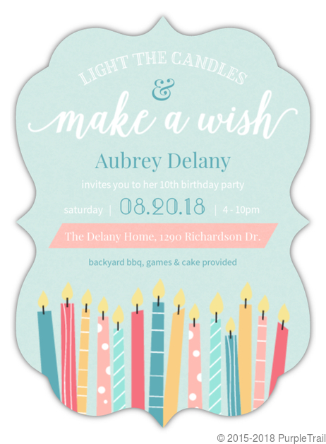 Whimsical Candle Wishes Birthday Party Invitation