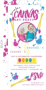 Canvas Art Kids Birthday Party Invitation