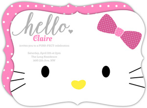 Pink Kitty Girls Birthday Invitation