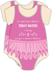 Pink Leotard Ballerina Birthday Party Invitation