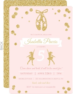 Pink And Gold Ballerina Birthday Party Invitation