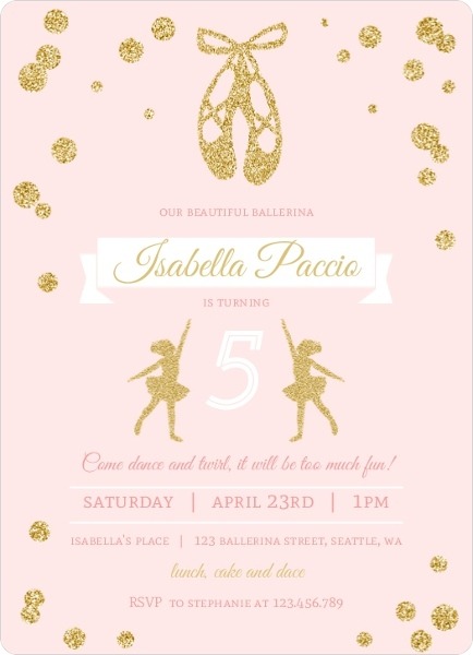 pink and gold ballerina birthday party invitation | kids birthday, Birthday invitations
