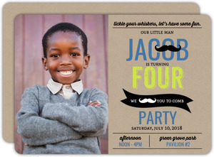 Hip Mustache Kraft Kids Birthday Party Invitation