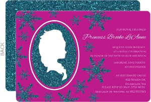 Pink Winter Princess Silhouette Girls Birthday Party Invitation