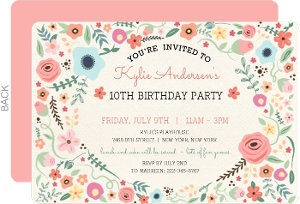 Girly Floral Frame Birthdday Invitation