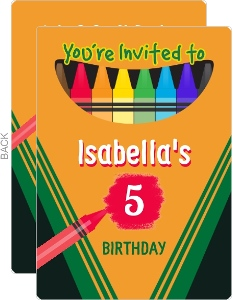 Colorful Crayon Box Birthday Party Invitation