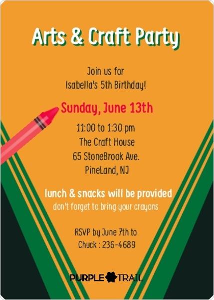 Colorful Crayon Box Birthday Party Invitation