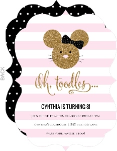 Glamorous Glitter Mouse Birthday Invitation