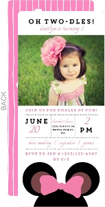 Perfectly Pink Mouse Ears Birthday Party Invitation