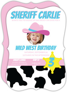 Cowgirl Sheriff Kids Party Invitation