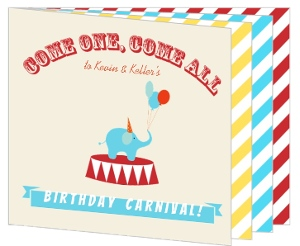 Red Yellow Blue Striped Carnival Booklet Kids Birthday Invitation