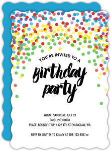 Rainbow Confetti Kids Birthday Party Invitation