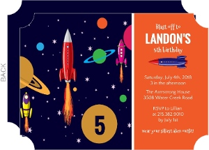 Blue orange rocket birthday party invitation 1984 0 big ticket