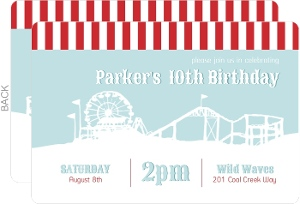 Amusement Park Red And Blue Birthday Party Invitation