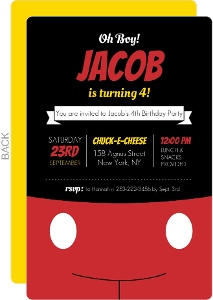 Oh Boy Black And Red Birthday Invitation