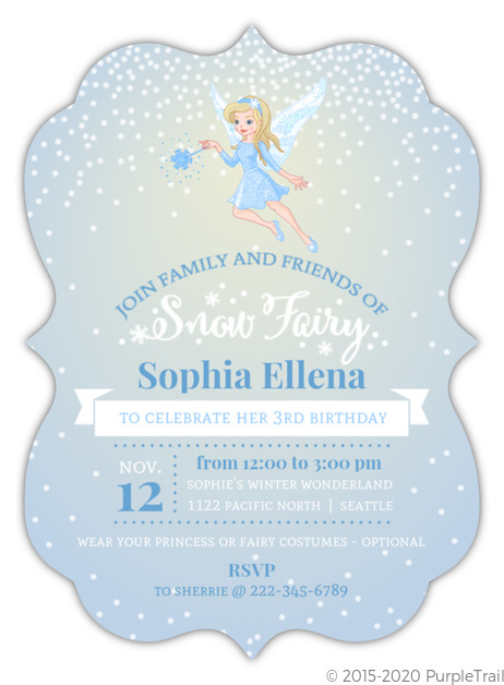 Whimsical Blue Snow Fairy Kids Birthday Invitation