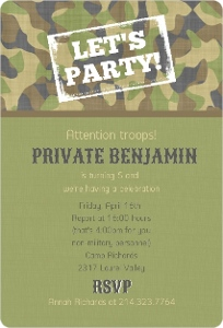 Camouflage Green Kids Birthday Invitation