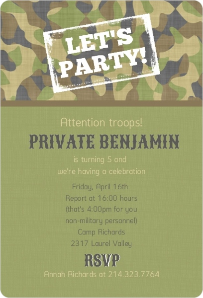 Camouflage Green Kids Birthday Invitation