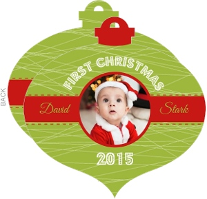 Cheerful Red & Green First Christmsa Photo Ornament