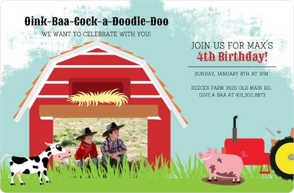 Down On The Farm Birthday Party Invitation | Kids Birthday Invitations