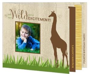 Woodgrain Jungle Safari Animals Birthday Invitation