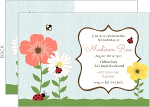 Woodgrain Flower Garden Ladybug Birthday Invitation