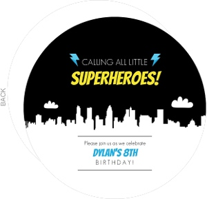 White Skyline Lightening Superhero Birthday Invitation