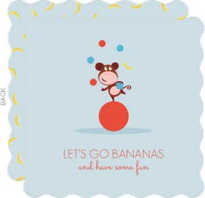 Monkey Juggling Kids Birthday Party Invitation