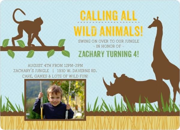 Blue Jungle Animals Safari Birthday Invitation – Zoo Themed Birthday Invitations
