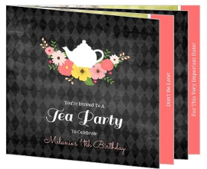 Chalkboard Flowers Elegant Tea Party Birthday Invitation