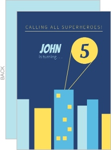 Blue and Yellow Superhero Skyline Birthday Invitation