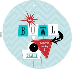 Turquoise And Red Retro Strike Bowling Birthday Invitation