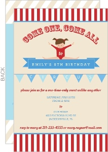 Red And White Striped Circus Kids Birthday Party Invitation