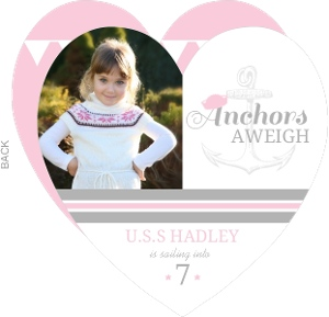 Pink And Gray Anchor Nautical Birthday Invitation