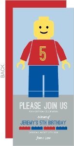 Blue And Red Figurine Kids Birthday Invitation