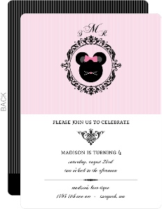 Monogram Girls Birthday Party Invitation