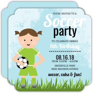 Blue Whimsical Girls Soccer Party Invitation