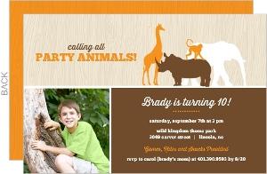 Brown And Orange Safari Animals Birthday Invitation