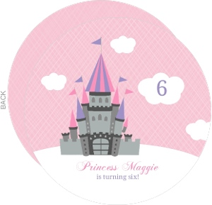 Pink And Cloudy Castle Princess Birthday Invite