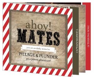 Rustic Red Stripe Pirate Birthday Invitation