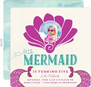 Sea Shell Mermaid Kids Birthday Party Invitaiton