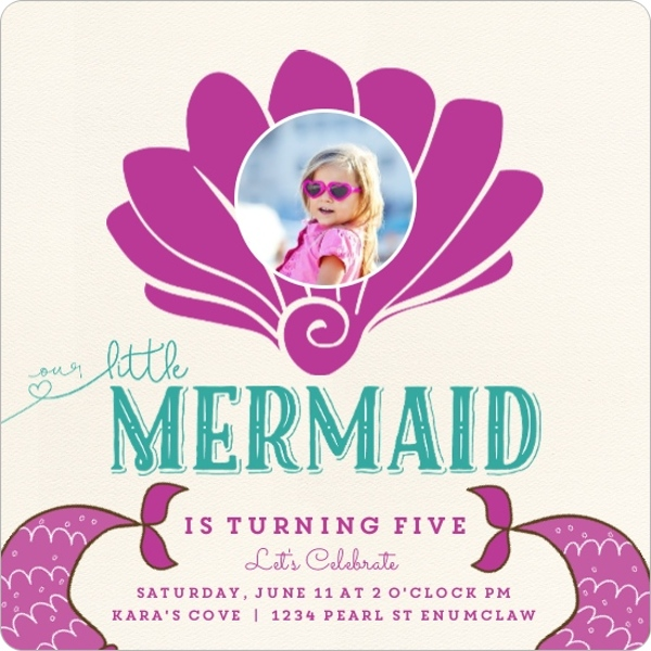 Sea Shell Mermaid Kids Birthday Party Invitaiton
