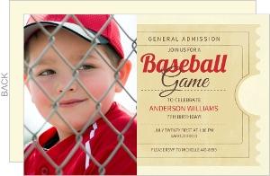 Brown Baseball Ticket Birthday Party Invitation