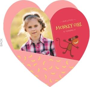 Pink Monkey Girls Birthday Invitation
