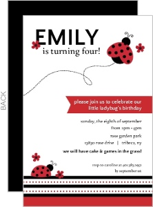 Red And Black Floral Ladybug Birthday Invitation