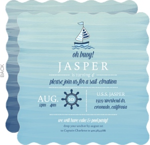 Blue Watercolor Sailboat Nautical Birthday Invitation