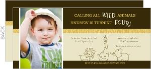 Brown Jungle Safari Animals Birthday Invitation