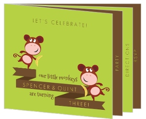 Green And Brown Monkey Twins Birthday Party Invite