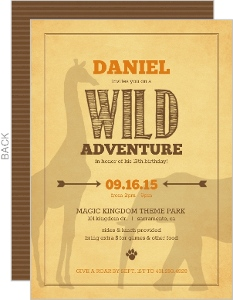 Rustic Yellow Jungle Safari Animal Birthday Invitation