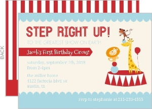 Red And Blue Circus First Birthday Party Invitation